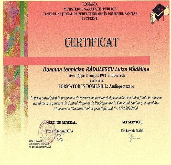Certificat Radulescu Luiza Madalina